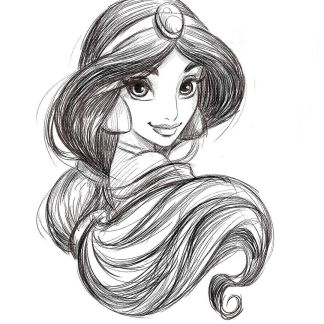 sketch of princess jasmine
