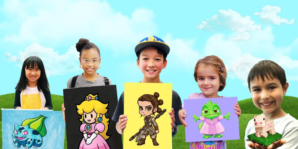 image of 5 kids holding their art. summer break art camp in text at top