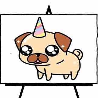 painting of pug with party hat