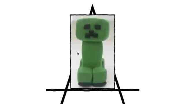 clay sculpture of green minecraft creeper