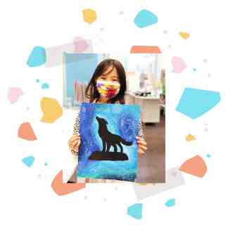 Image of a student showing her wolf paint