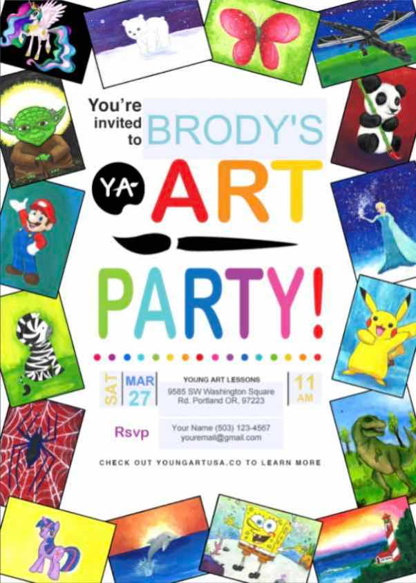birthday party invitation preview colorful with various paintings