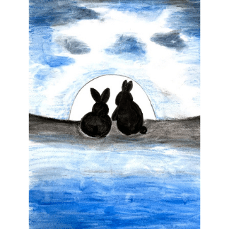 silhouette of 2 rabbits