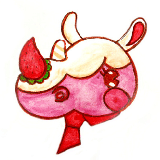 drawing of a pink rhino with strawberry nose
