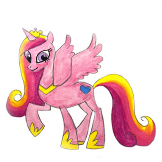colored drawing of a pink pony