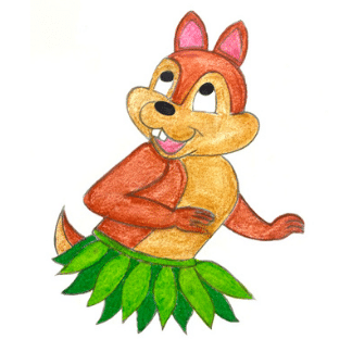 drawing of a squirrel wearing leaf skirt