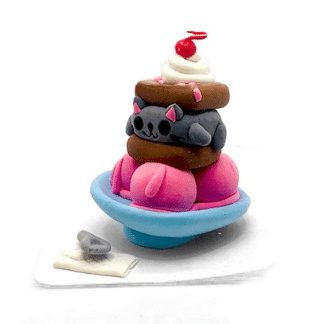ice cream with cat layer clay sculpture
