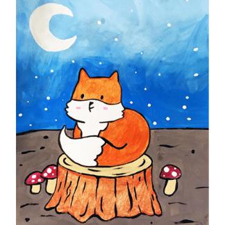 Fox at Night painting