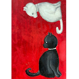 painting of a black and white cat