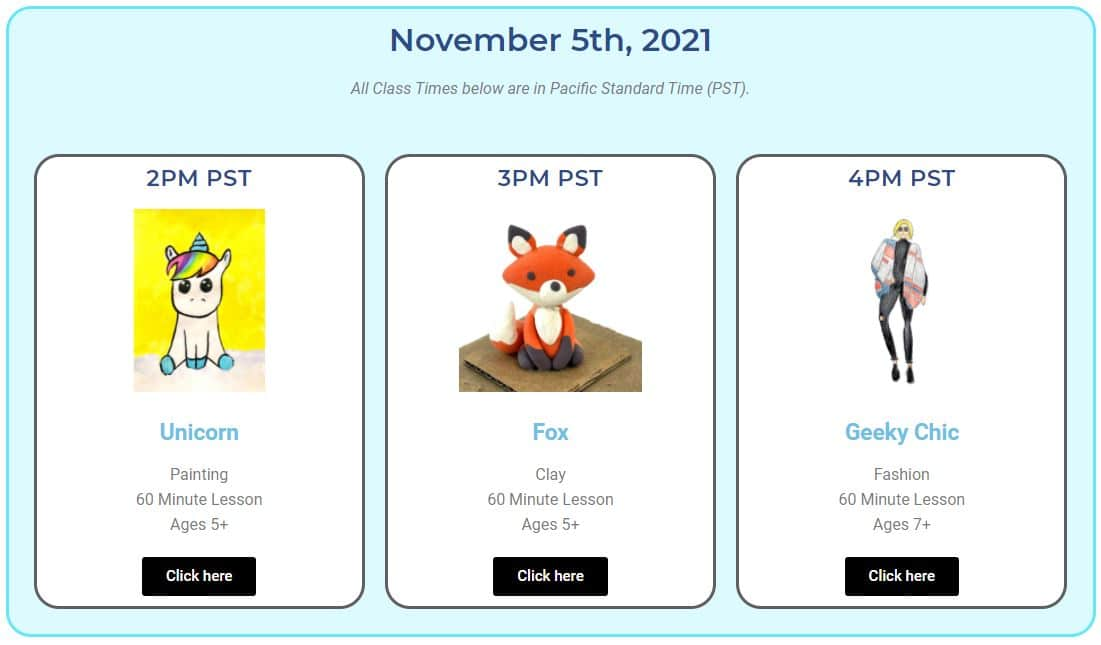 image of the YA live schedule