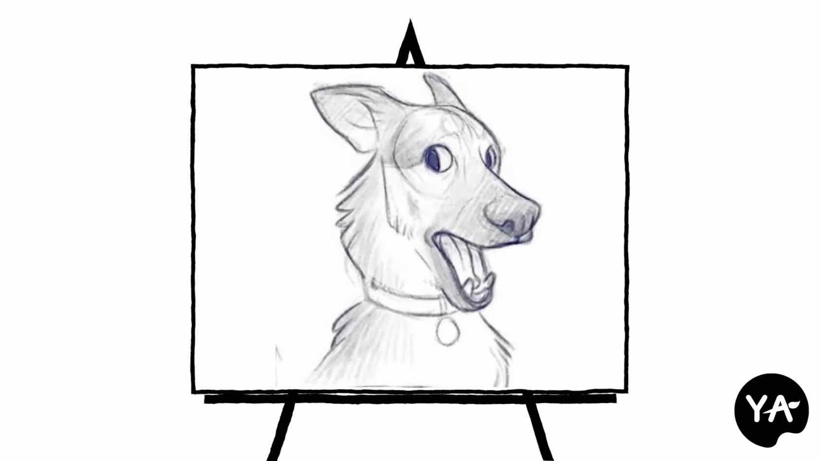 pencil sketch of a cartoon dog
