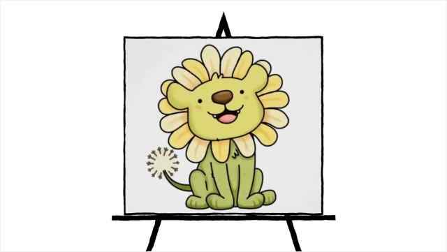 Smiling Dandi-Lion Pastel Painting in green and yellow