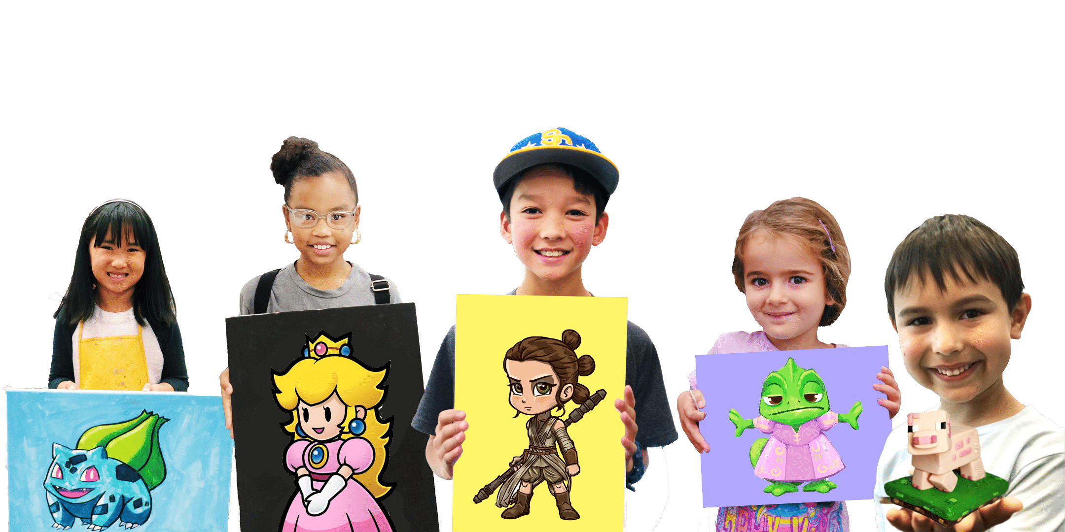 photo of 5 kids holding their artwork