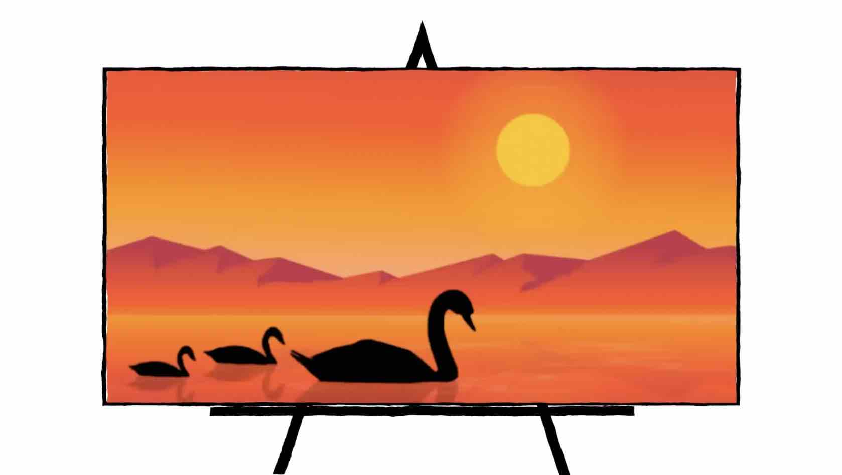 Silhouette Swans Landscape painting lots of orange, yellow and red colors