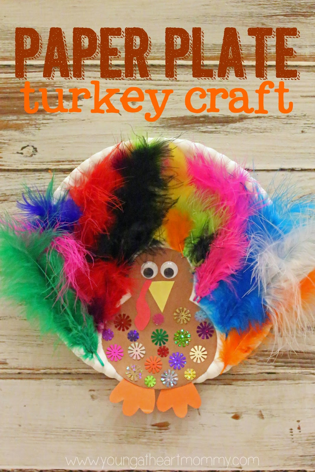 Paper Plate Feathered Turkey Craft