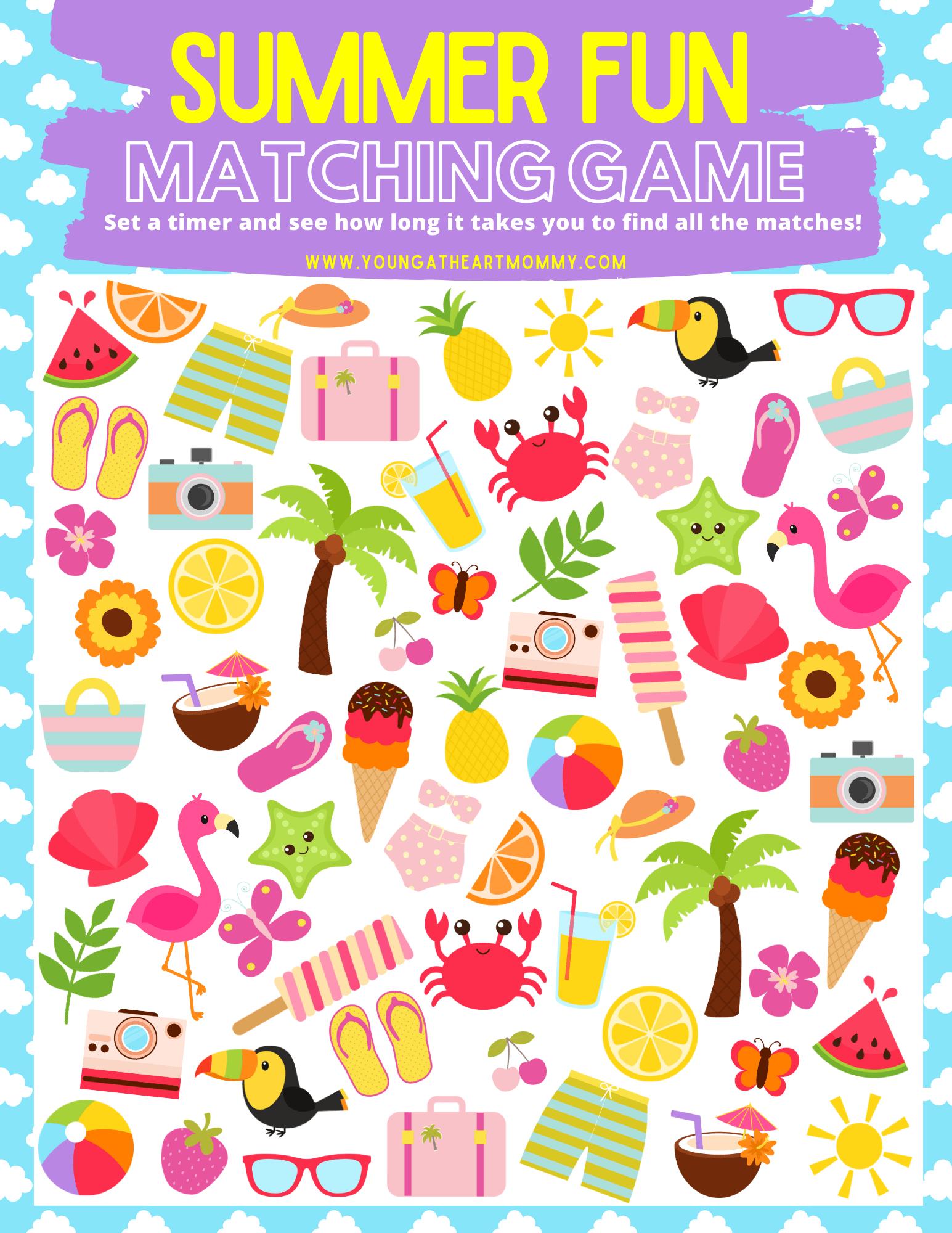 Free Summer Fun Matching Game Printable For Kids