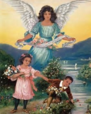 Angel standing over two children