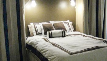add storage space with bedroom built-ins and romantic ambiance