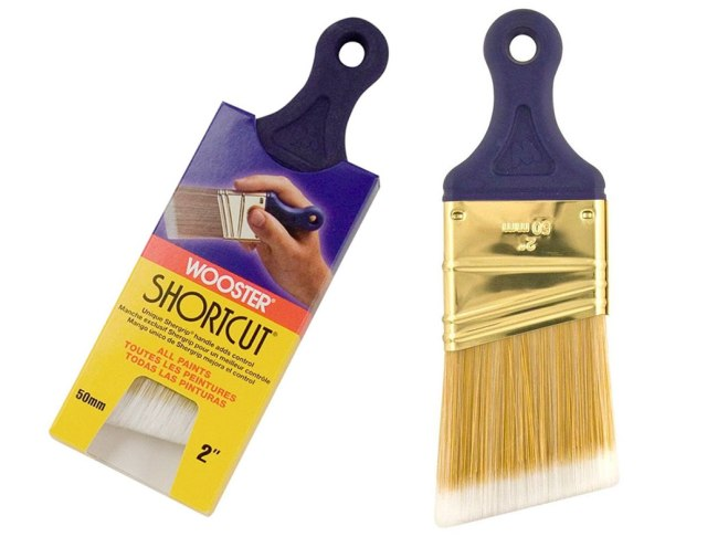 "wooster shortcut 2"" angled short-handed paint brush"