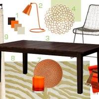 Mood Board Making: An Orange, Brown, and Tan Dining Room