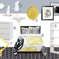 Mood Board Making: A Gray, White, And Yellow Bedroom