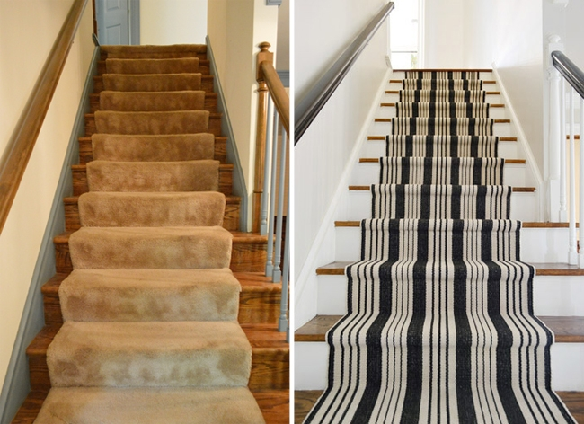 How To Install A Stair Runner Yourself Young House Love | Half Moon Carpet For Stairs | True Bullnose | Stair Tread | Stain | Stair Nosing | Runner Rugs