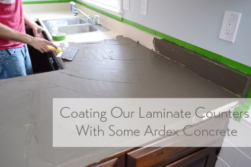 Trying Our Hand At DIY Ardex Concrete Counters   Young House Love ArdexCoatingCounters