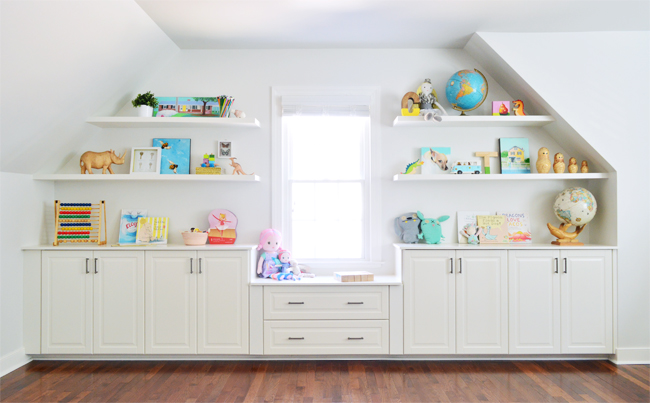 How to add DIY white floating shelves that are thin and white Ikea cabinets to make a window niche look custom