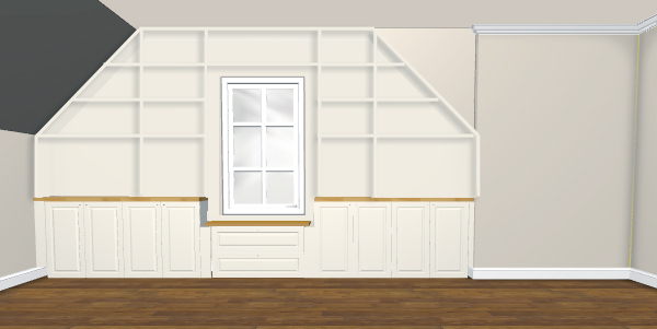 Rendering of built-in cabinets and bookshelves using Ikea 3D Kitchen Planner