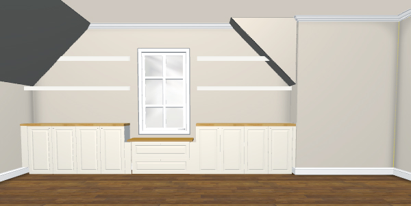 Rendering of built-in cabinets and two floating shelves using Ikea 3D Kitchen Planner