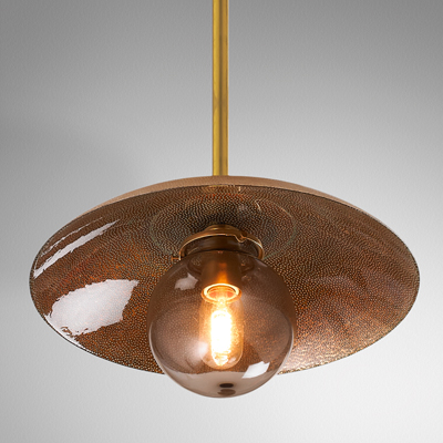 Copper Glass Pendant for Shades of LIght