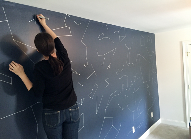 Boys Outer-Space-Bedroom-Drawing-Dots-On-Constellation-Wall
