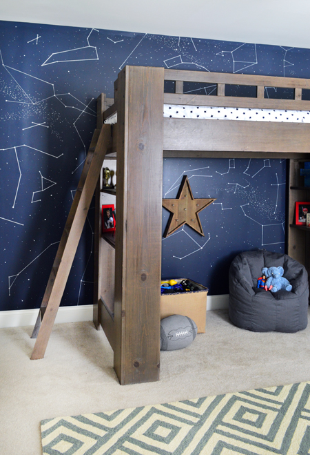 Boys Outer-Space-Bedroom-Loft-Bed-Constellation-Wall