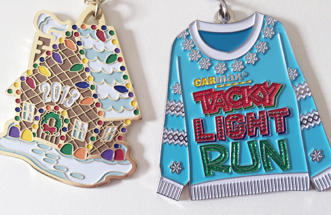 christmas race medals ready to be made into ornaments