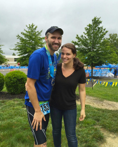 post triathlon race photo of john and sherry