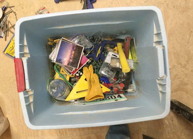shed storage ideas junk bin of tools