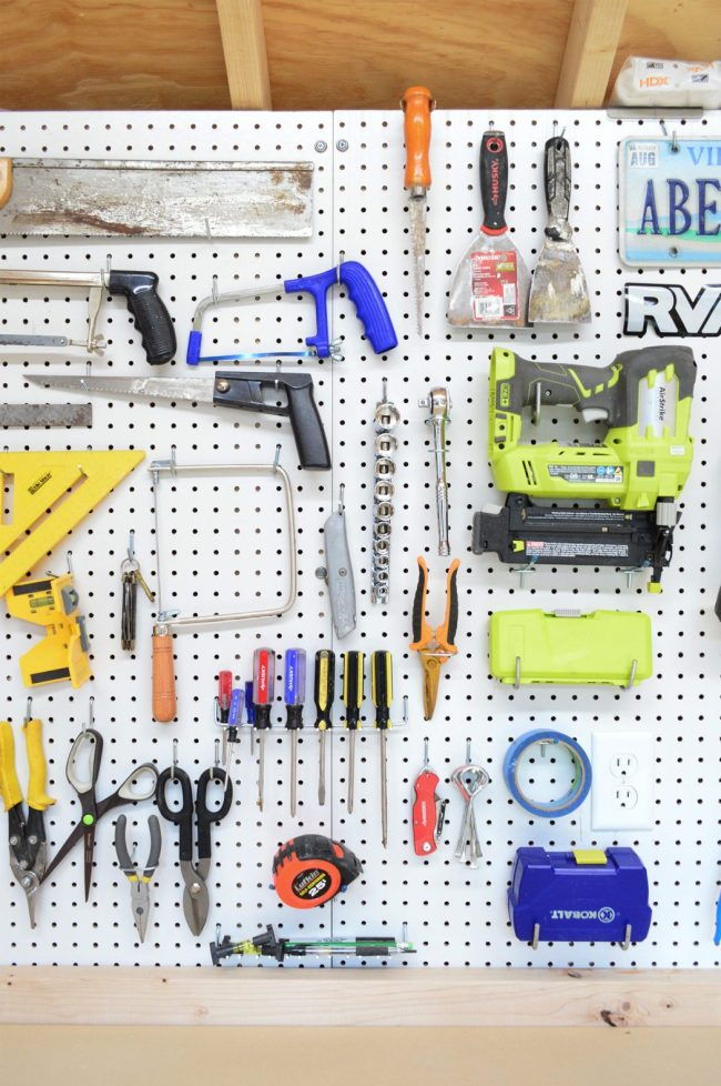 shed storage ideas white pegboard with tools