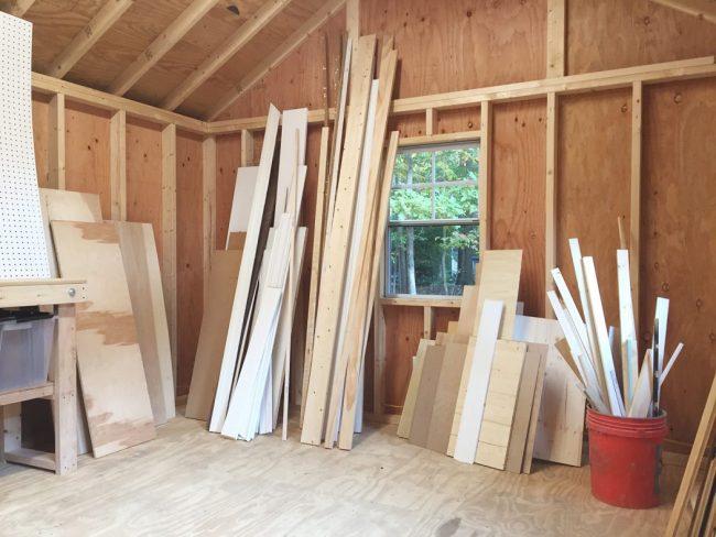 shed storage ideas scrap lumber pile