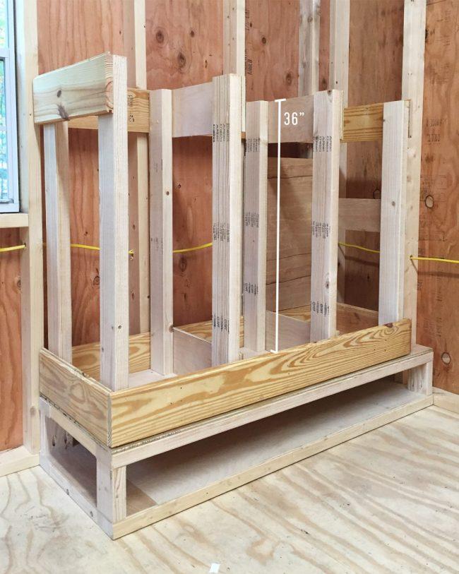 shed storage ideas scrap wood organizer made of scrap wood