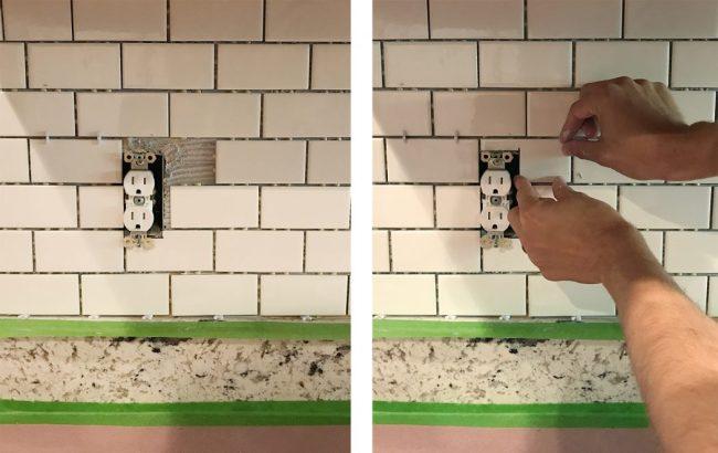 John placing cut subway tile around outlet on kitchen backsplash