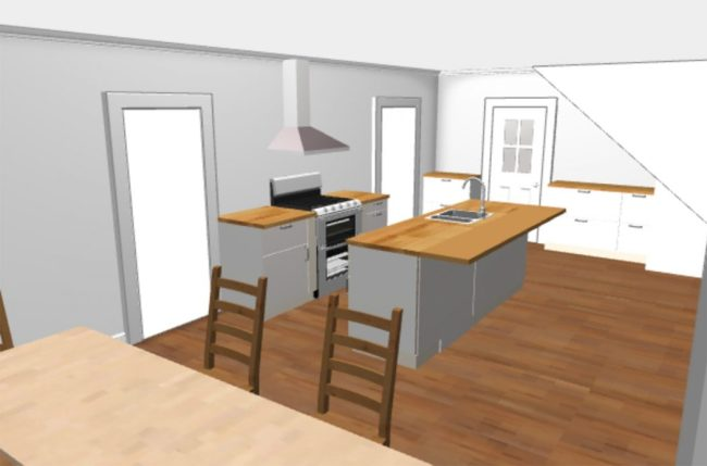 ikea 3D kitchen planning tool rendering without upper cabinets