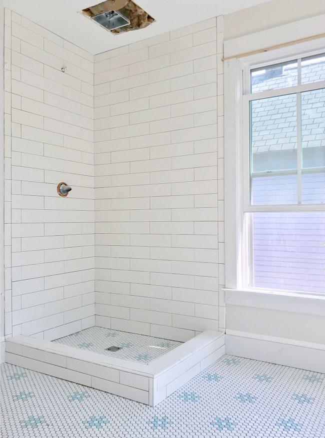 the beach house bathrooms are tiled