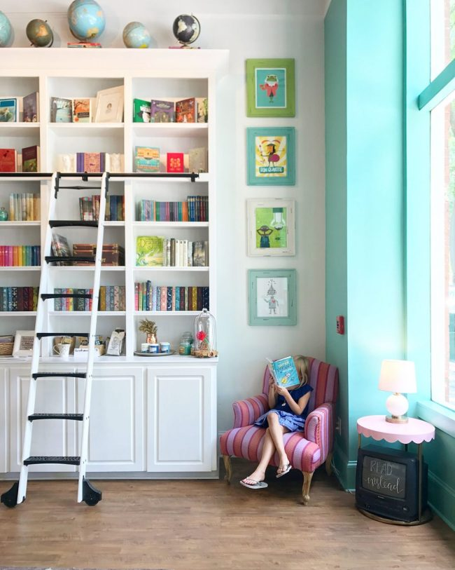 kids room ideas colorful bookcase library ladder