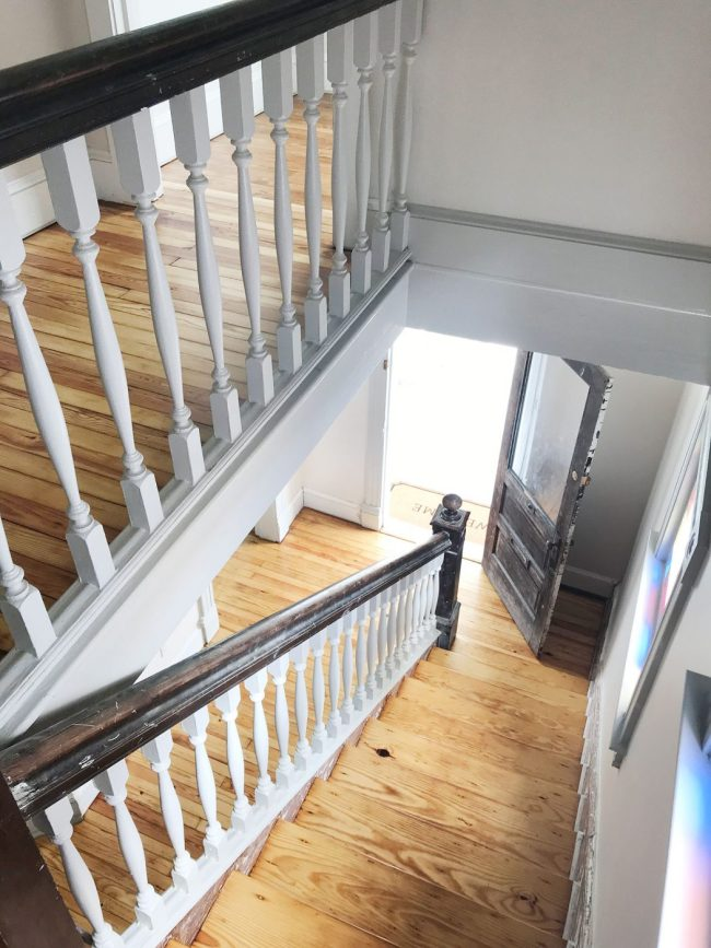 pine floor stair treads refinished