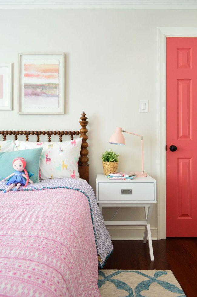 girls bedroom campaign sidetable wooden spool headboard