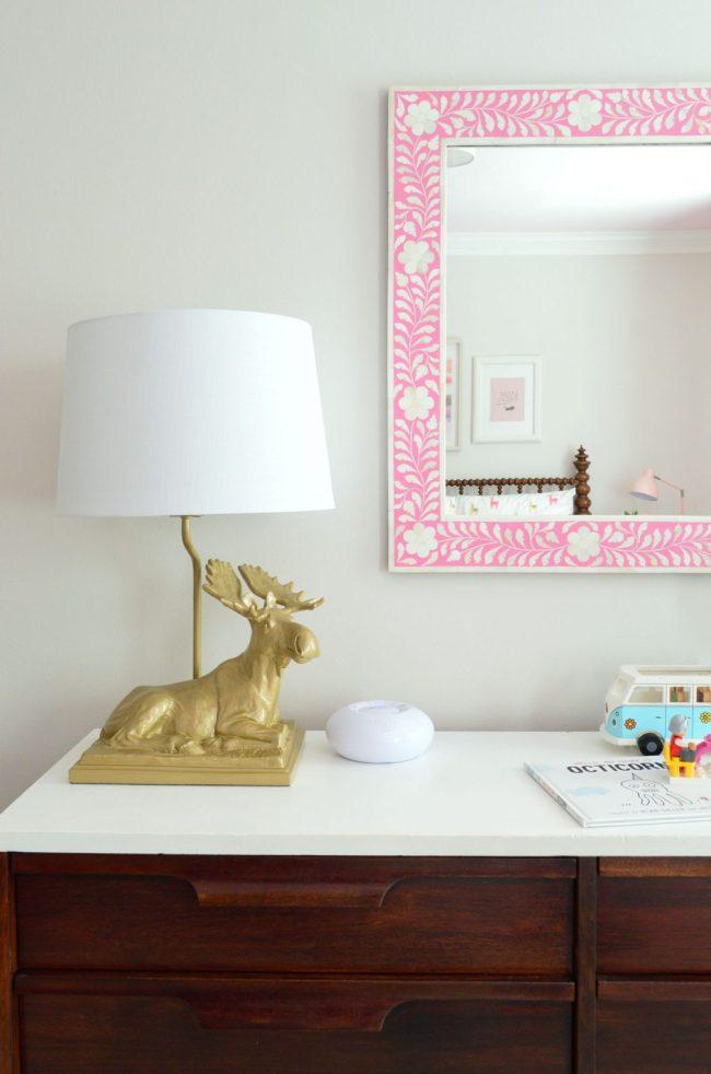 girls bedroom moose lamp pink mirror neutral wall