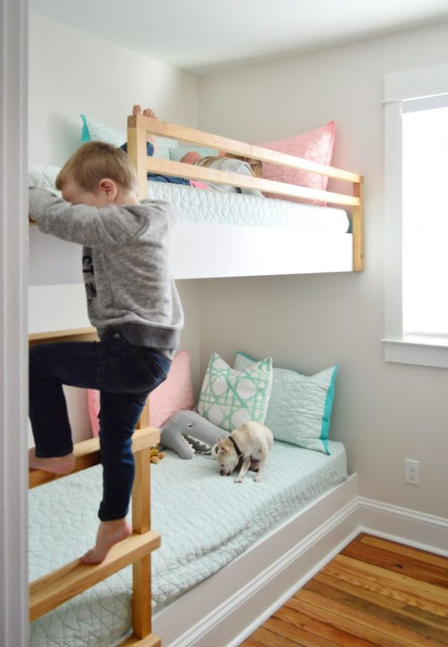 diy built in wall to wall bunk beds with child climbing ladder