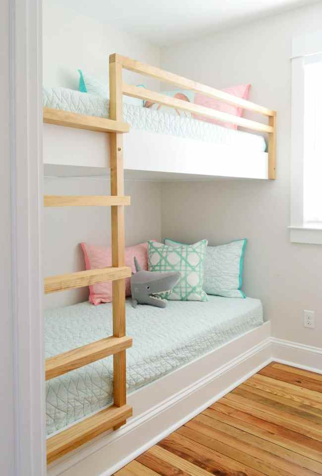diy built in wall to wall bunk beds after shot