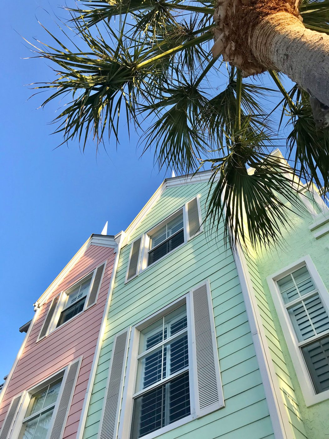 Colorful townhouses in Lighthouse Point Florida