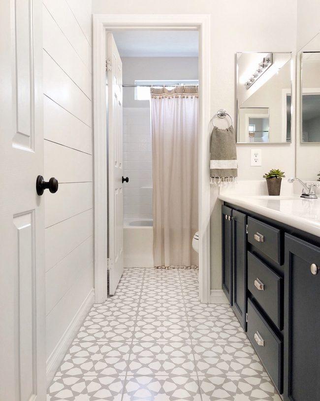 bathroom floor to look like cement tile